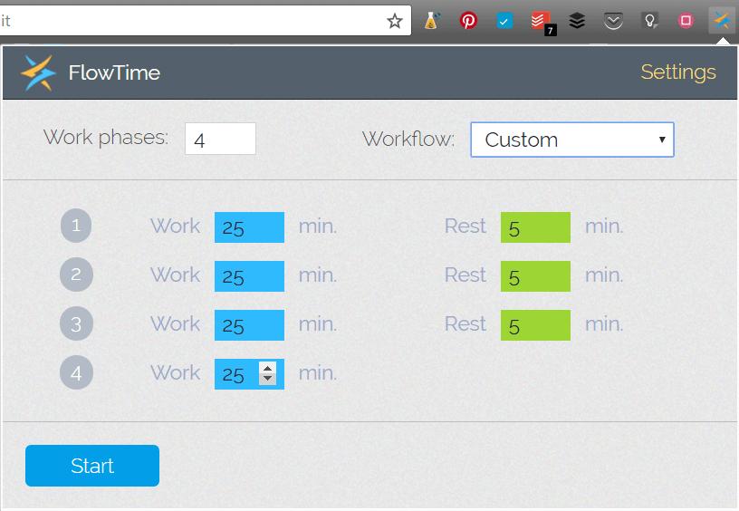 Flowtime est une extension Google Chrome qui utilise la méthode Pomodoro pour minuter le temps de travail et de pauses.