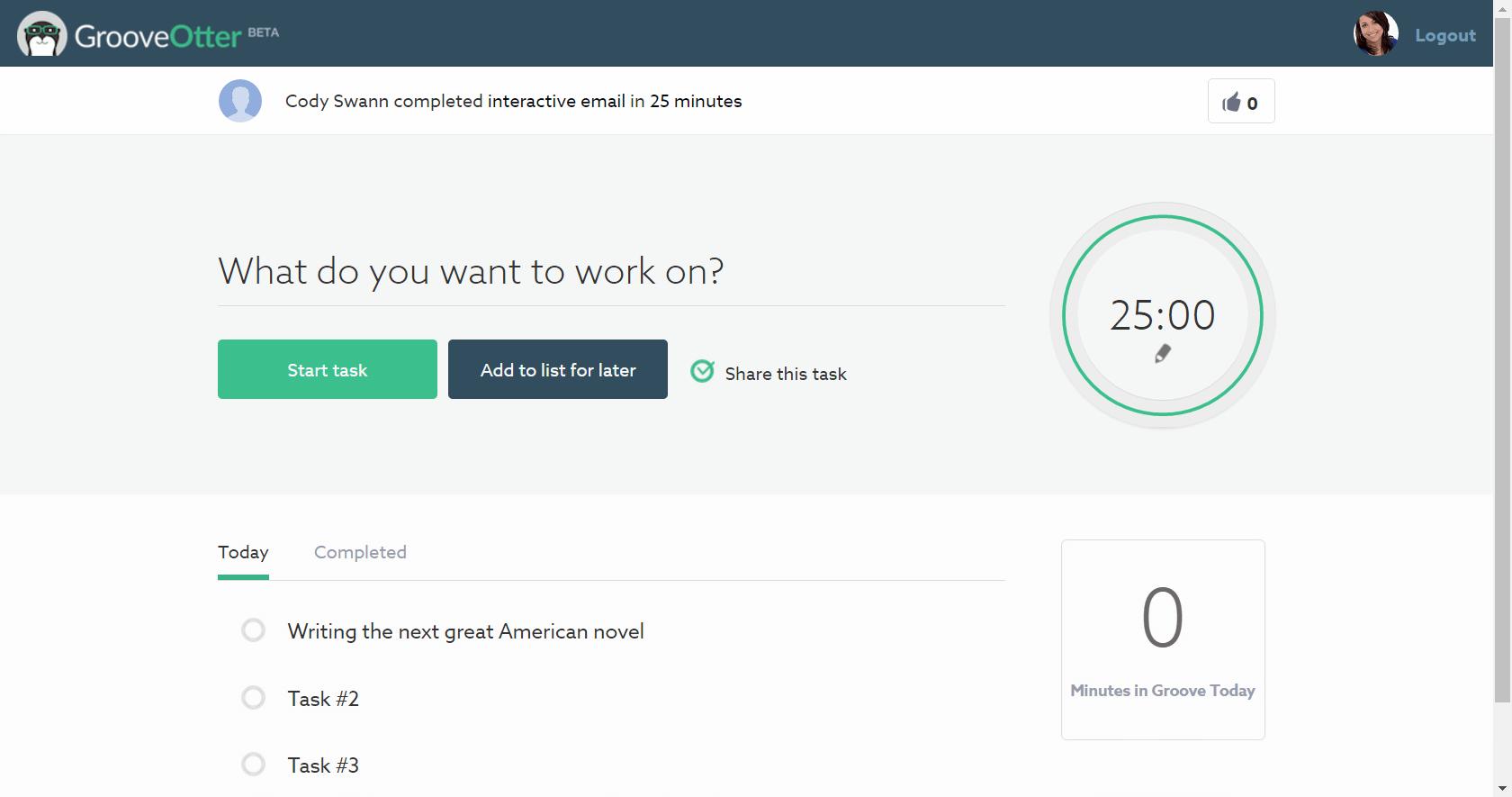 GrooveOtter est une application internet qui utilise la méthode Pomodoro pour minuter le temps de travail.