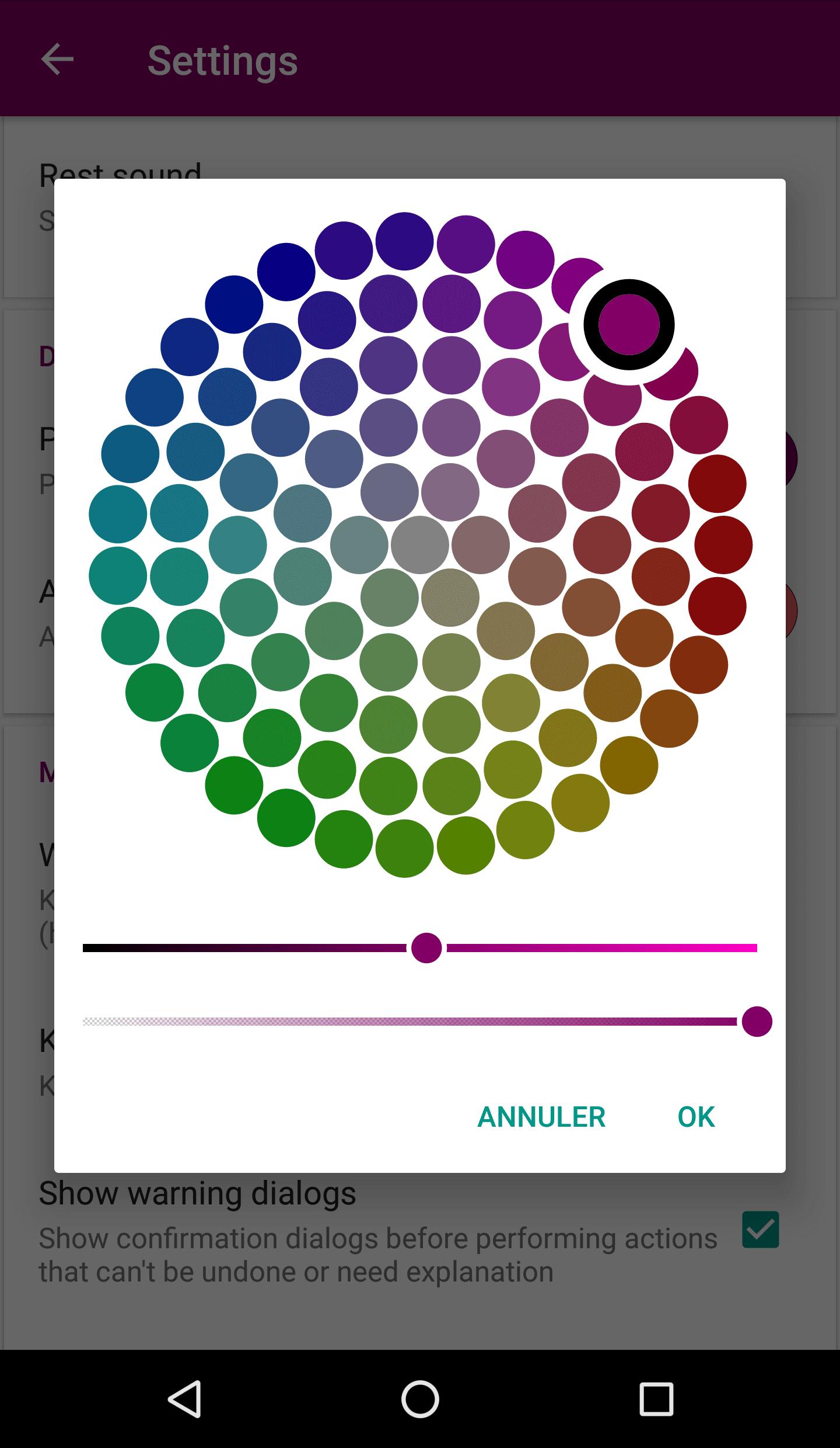 L'application Scheduler pour Android permet de sélectionner la couleur primaire et la couleur secondaire du visuel de l'application.
