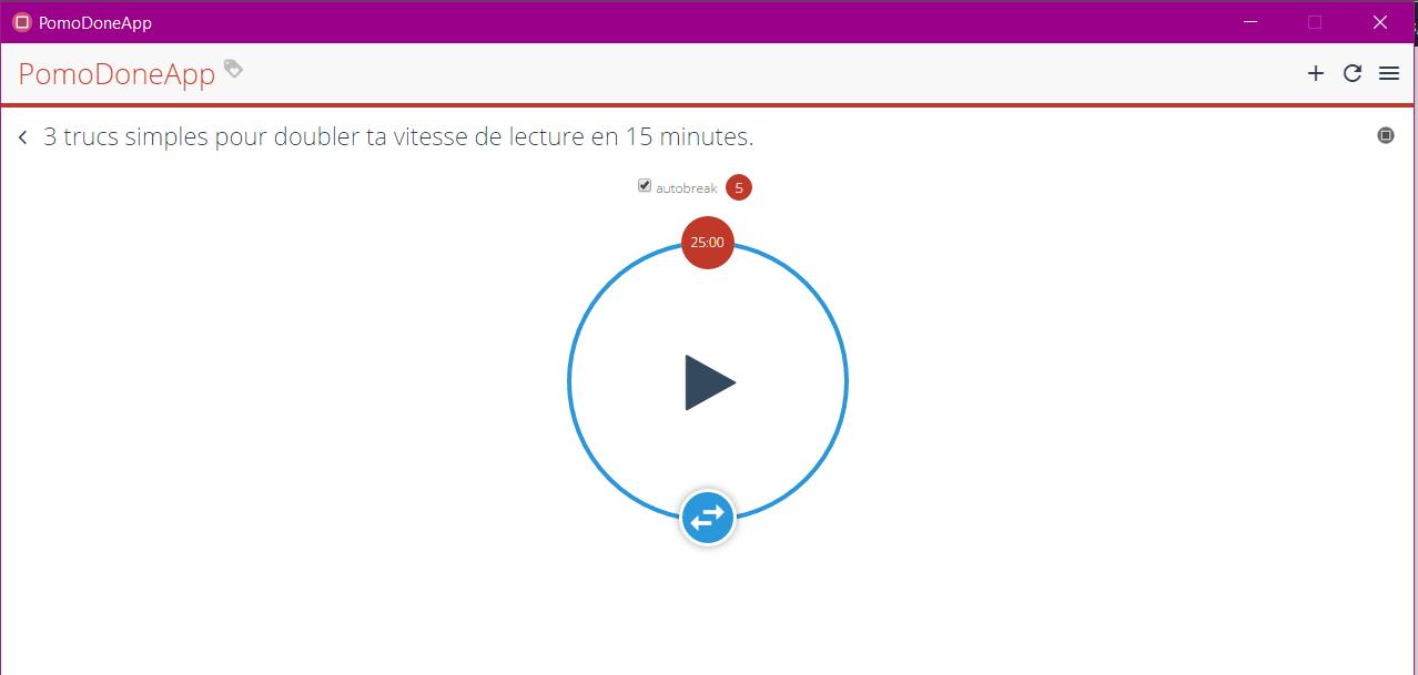 L'application PomoDone permet de minuter le travail et nous rappelle de prendre des pauses selon la méthode Pomodoro.
