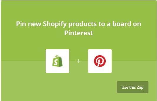 Lier Shopify et Pinterest avec Zapier