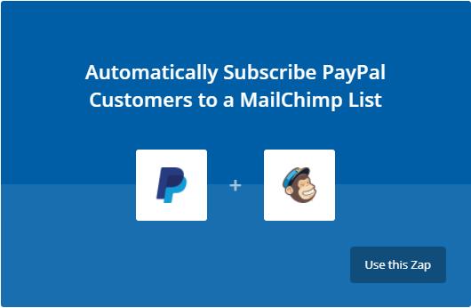 Lier Paypal et Mailchimp avec Zapier