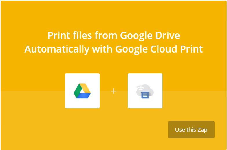 Connecter Google Drive et Google Cloud Print avec Zapier