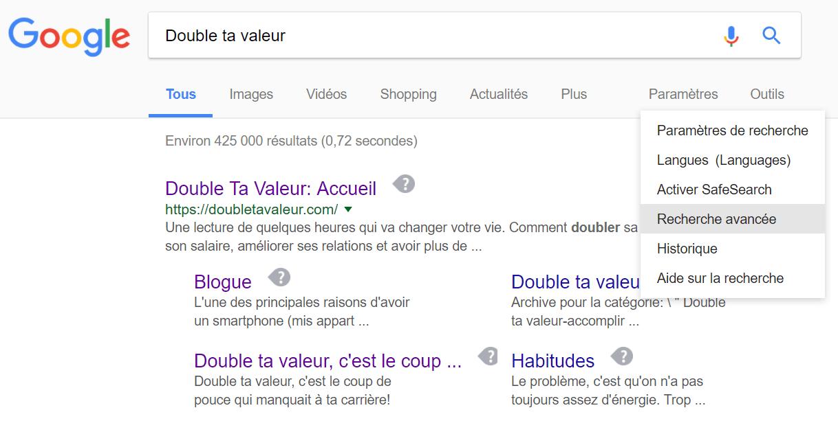 Recherche avancée sur Google