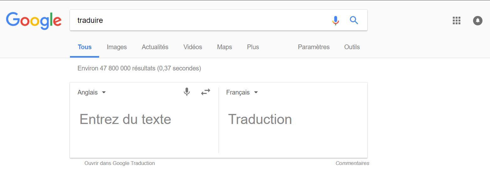 Traduire du texte grâce à Google