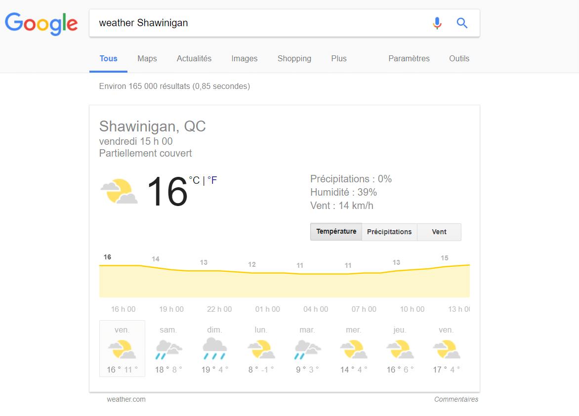 Connaître la météo grâce à Google