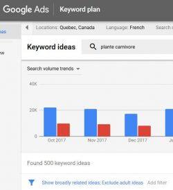 utiliser le keyword planner pour trouver mots clés google